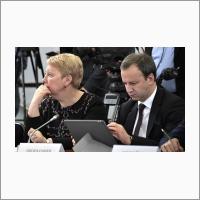 Ольга Васильева и Аркадий Дворкович в Доме ученых СО РАН 8 февраля 2018 года.