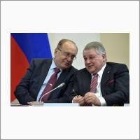Виктор Садовничий и Михаил Ковальчук в Доме ученых СО РАН 8 февраля 2018 года.