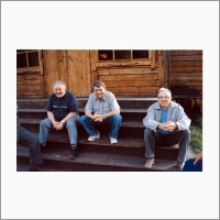 "Academicians Alexey Kontorovich, Valentin Parmon and Nikolai Dobretsov on archaeological base camp ""Denisova cave"" in the Altai, 2004 Photo: V. V. Vlasov."
