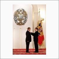 Dmitry Medvedev and laureate of the state prize of the Russian Federation Valentin Parmon, 2010