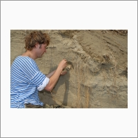 Сбор палеонтологического материала в Тункинской впадине. К.г.-м.н. лаборатории кайнозоя ИЗК СО РАН А.В. Сизов