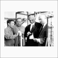Left to right: Mikhail Slinko, Anatoly Nikolaev, Nikolai Vorozhtsov, Georgii Boreskov in the Laboratory of adsorption, 1966