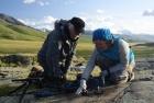 Лидия Зоткина с Жан-Мишелем Женестом на плато Укок