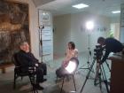 Академик Алексей Конторович дает интервью в Выставочном центре СО РАН