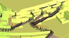 Влияние объемно-планировочного решения на движение людей, образование скоплений на 180 секунде (отмечены красными стрелками)